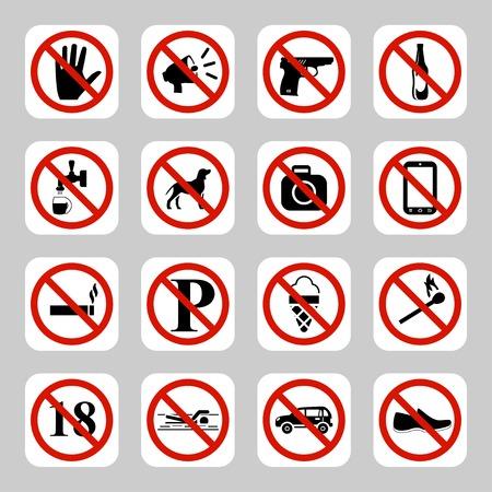 Prohibition signs, no symbols vector icon set Illustration