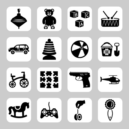 top gun: Toys icon collection - vector silhouette illustration