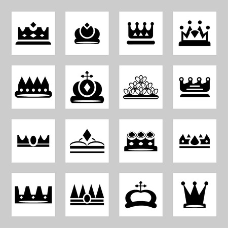 crown king: Crowns - icons and silhouettes
