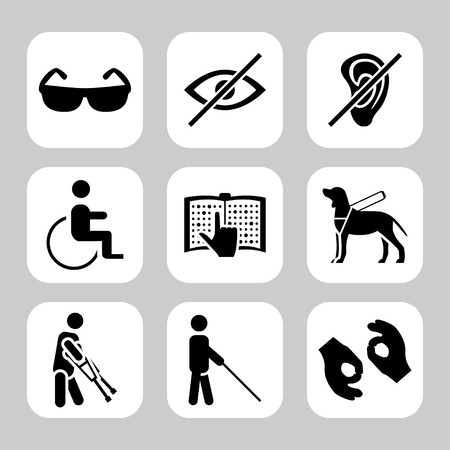 Physically disability related vector icon set