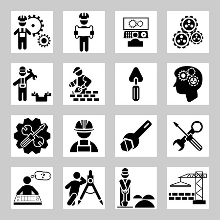 Engineering and construction vector icons set Illustration