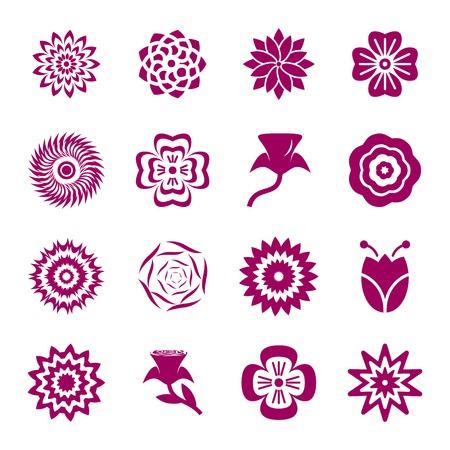flower patterns: Bloemmotieven icon set Stock Illustratie
