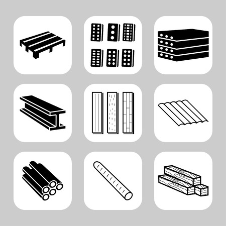 beam's: Building and construction materials vector icon set