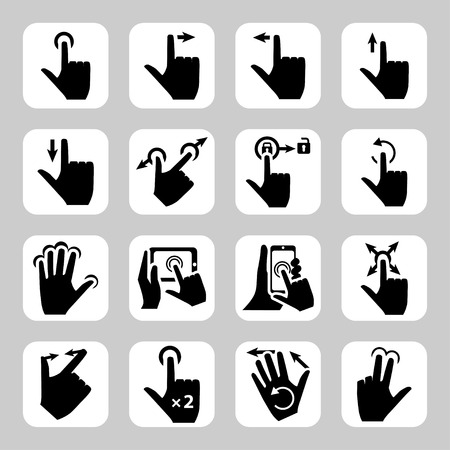pinch: Vector touch screen gestures icons: tap, press and hold, swipe, spread, pinch, rotate