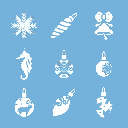 sea goat: Christmas tree decorations vector icon set Illustration