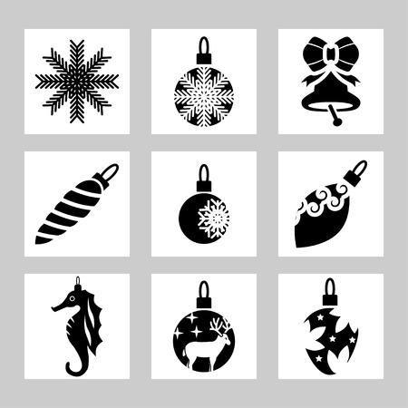 sea goat: Vector set of Christmas icons Illustration