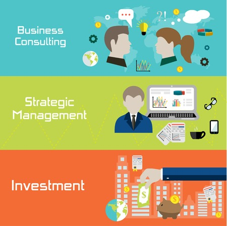 strategic management: Flat style banners for business, finance, strategic management, investment and consulting
