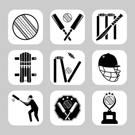 Vector cricket related icon set