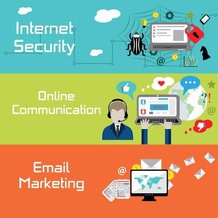 Platte ontwerp banners voor internetbeveiliging, online communicatie en e-mail marketing