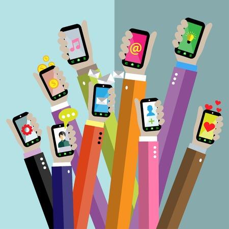 app: Flat design vector illustration concept for mobile apps