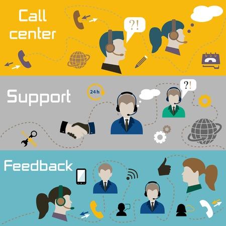 support center: Vector illustration of customer support center banners Illustration