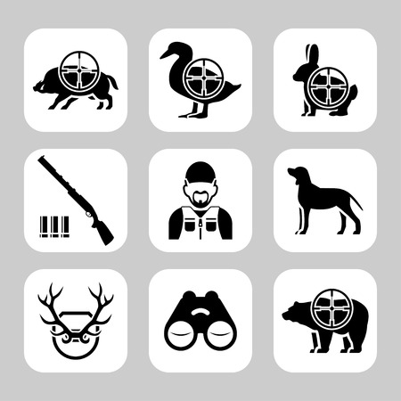 bear silhouette: Hunting silhouettes vector icon set