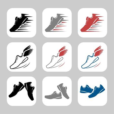 personas corriendo: Conjunto de iconos vectoriales de zapatos de deporte