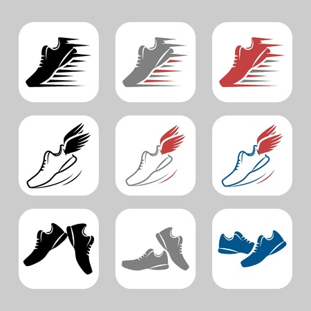 fast foot: Vector icon set of sport shoes