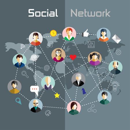 Platte design concept voor sociaal netwerk Stock Illustratie