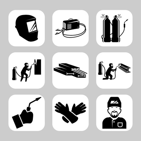 soldador: Vector conjunto de iconos relacionados con la soldadura