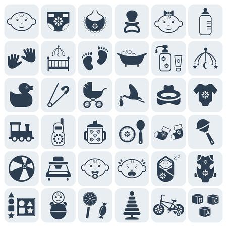 Baby, kinderen en speelgoed icon set