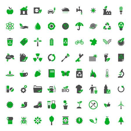 calentamiento global: Ecología y medio ambiente vector iconos conjunto