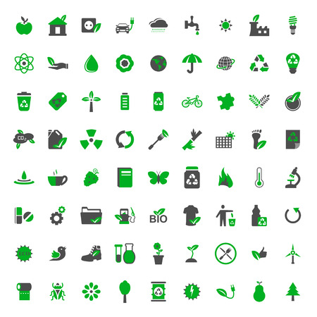 Ecology and environment vector icons set Illusztráció