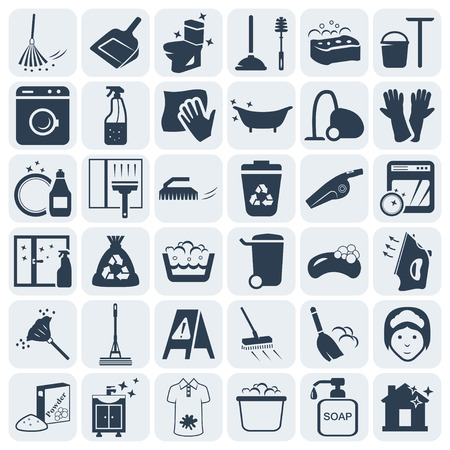 cleaning equipment: Cleaning and washing vector icon set