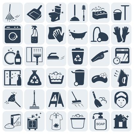 inodoro: Limpieza y lavado de icono de vector conjunto Vectores