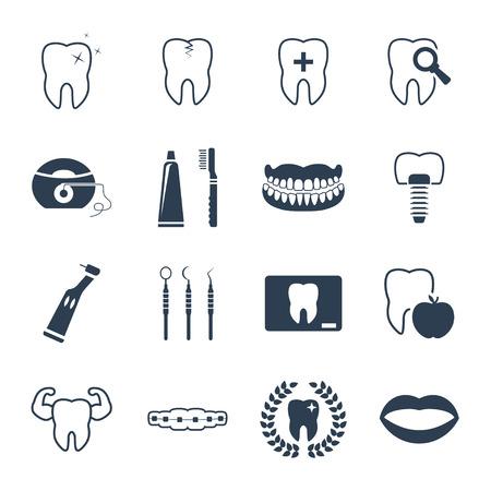 dentier: Dentaires et des dents icône de la santé ensemble Illustration