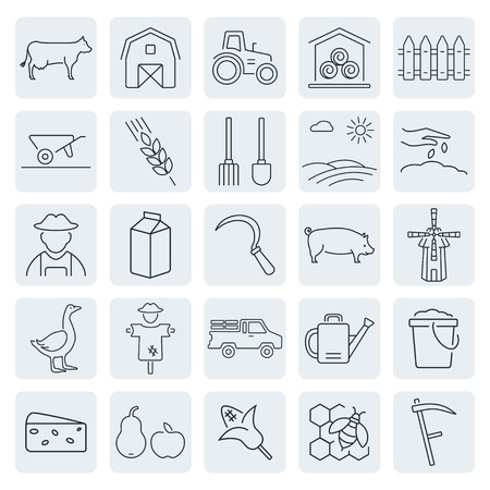 sundry: Vector agriculture and farming icons set Illustration