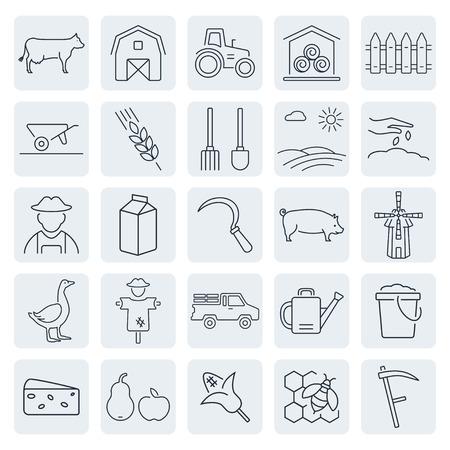 Vector landbouw en veeteelt iconen set Stock Illustratie