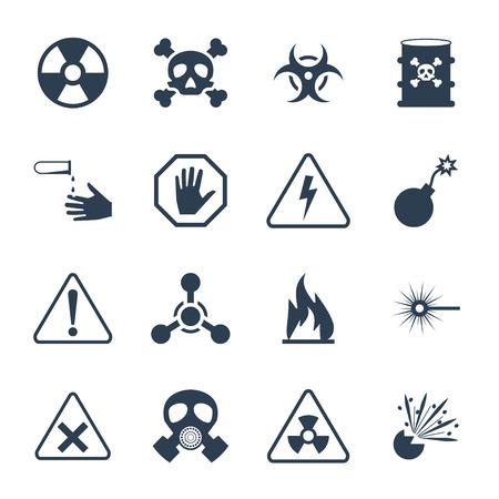riesgo quimico: Peligro y Vector icono de peligro conjunto Vectores