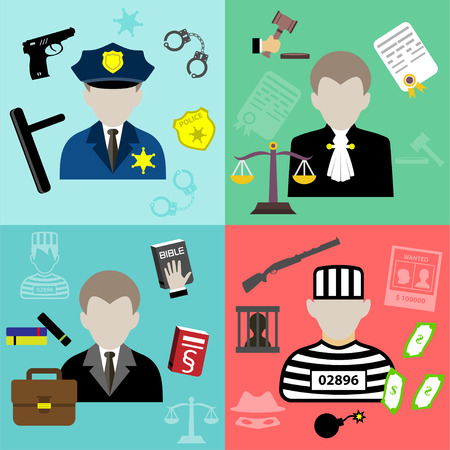 truncheon: Vector law and justice flat style icons