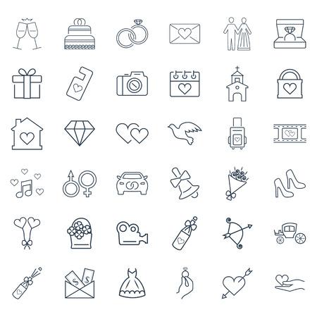 Bruiloft, vakantie vector icon set