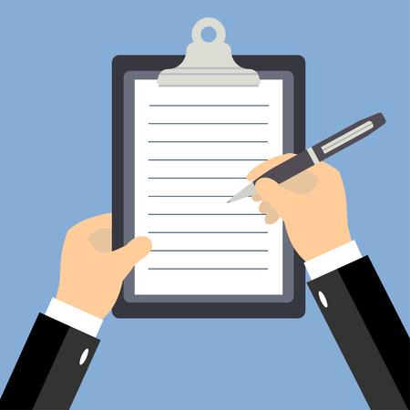 Zaken man handen ondertekening van zakelijk contract, vlakke stijl vector illustratie