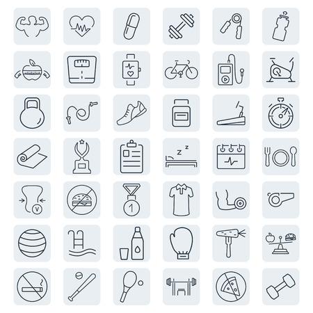 fitness: Gesundheit und Fitness-Vektor-Icons. Illustration