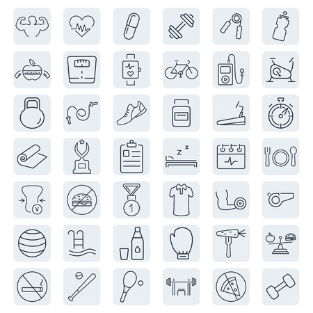 exercise bike: Health and Fitness vector icons. Illustration