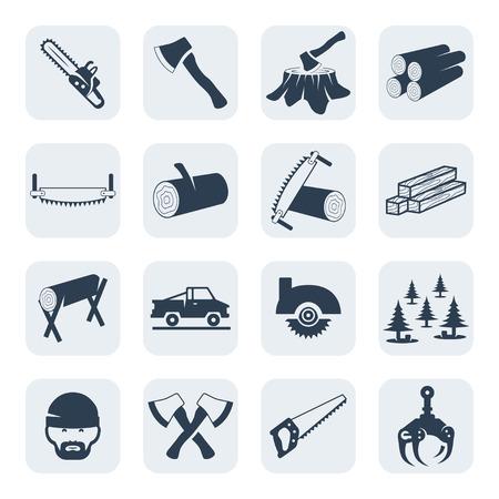 Vector Holzfäller und Sägewerks icons set Standard-Bild - 41043984