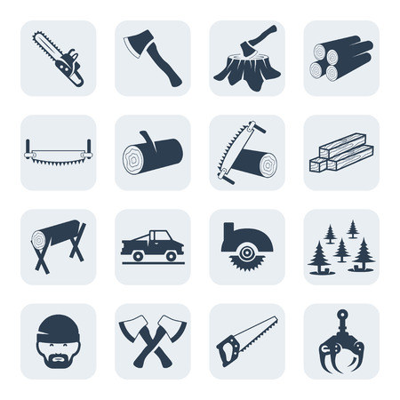felling: Vector lumberjack and sawmill icons set