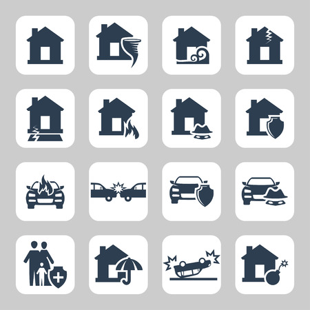 explosion risk: Insurance and accidents vector icon set Illustration