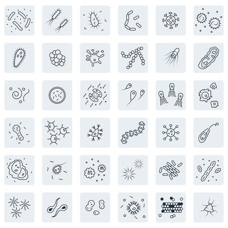 Bacteria and germs  icon  set in thin line style
