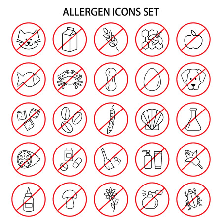 Set of allergen free products icons. Insects and wool, dust and medicine and odor. Vector illustration