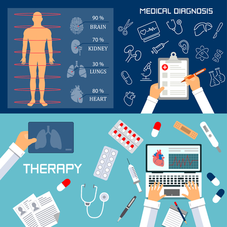medical preparation: Medical diagnosis and therapy flat banners Illustration