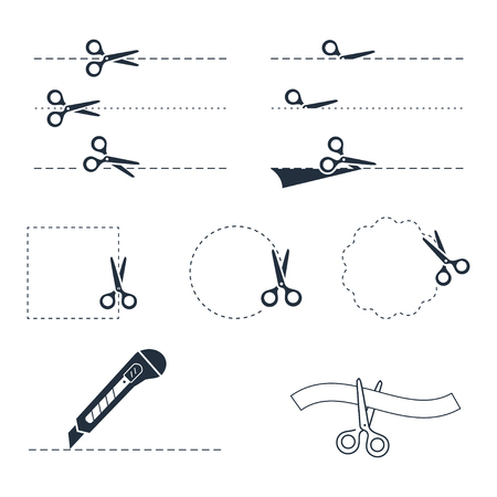penetrated: Vector scissors icon set
