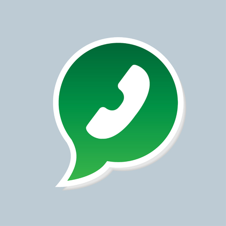 friend nobody: Green phone handset in speech bubble icon Illustration