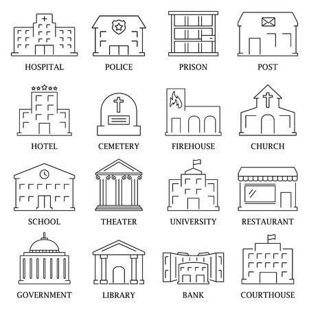 Government building icons set of police library theater isolated vector illustration