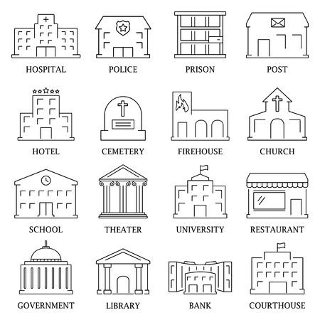 Rząd budowa ikony zestaw kina biblioteki policji wyizolowanych ilustracji wektorowych Ilustracje wektorowe