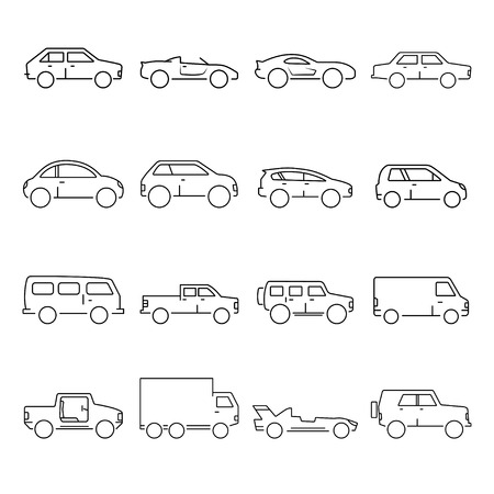 family van: Outline car collection icon Illustration