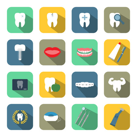 dental health: Dental and teeth health flat style icon set Illustration