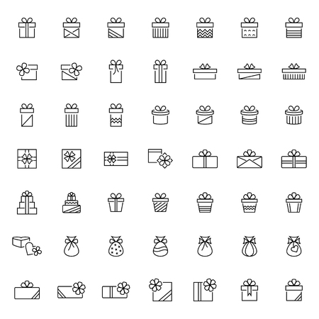 Present icon set in thin line style,vector illustration 矢量图像
