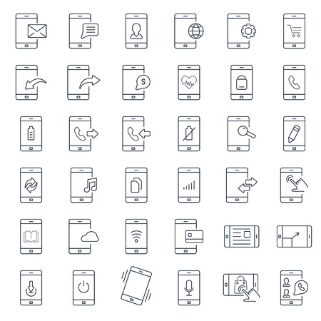 function: Mobile function outline icon set
