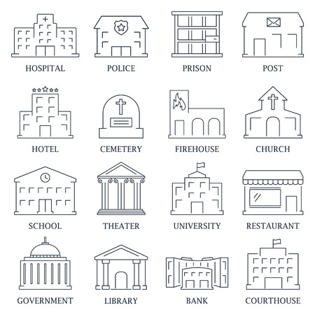 Regering gebouw iconen set van geïsoleerde politie museumbibliotheek theater vector illustratie