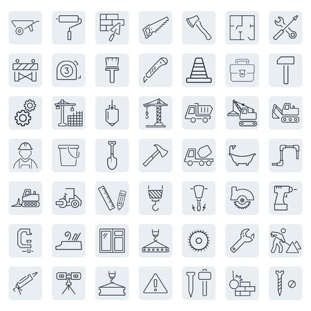 Gliederung Web-Icons Set - Gebäude, Bau-und Heim-Reparaturwerkzeuge Standard-Bild - 46472112